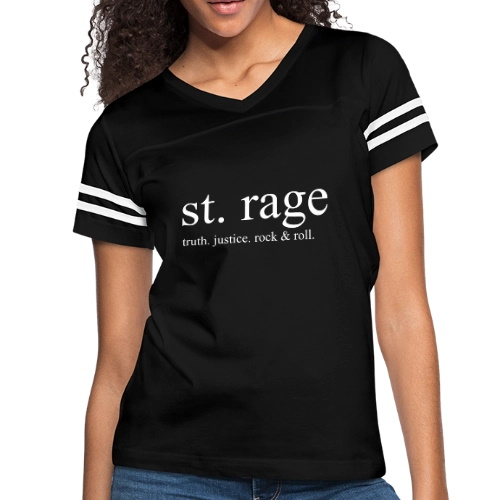T-shirt with message: St. Rage Truth. Justice. Rock & Roll.