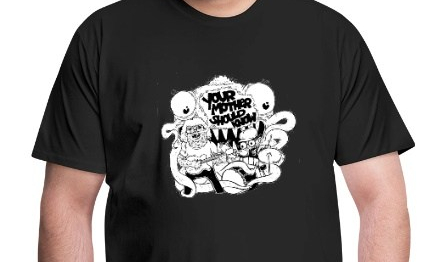 T-shirt with image of pop-punk duo Your Mother Should Know as gross but lovable monsters